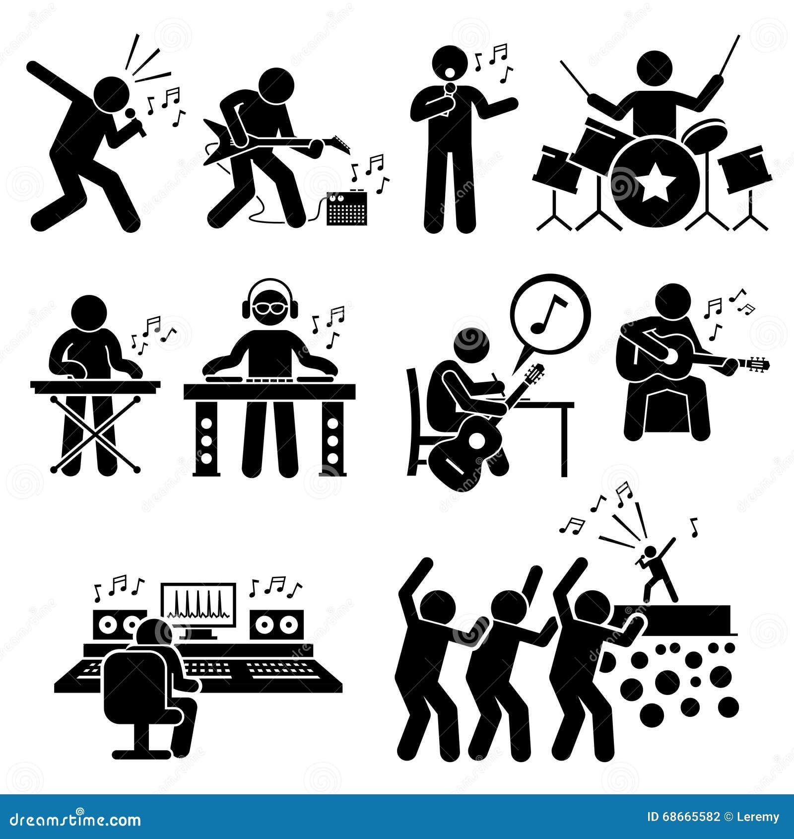 摇滚明星音乐家有乐器的clipart音乐艺术家图片