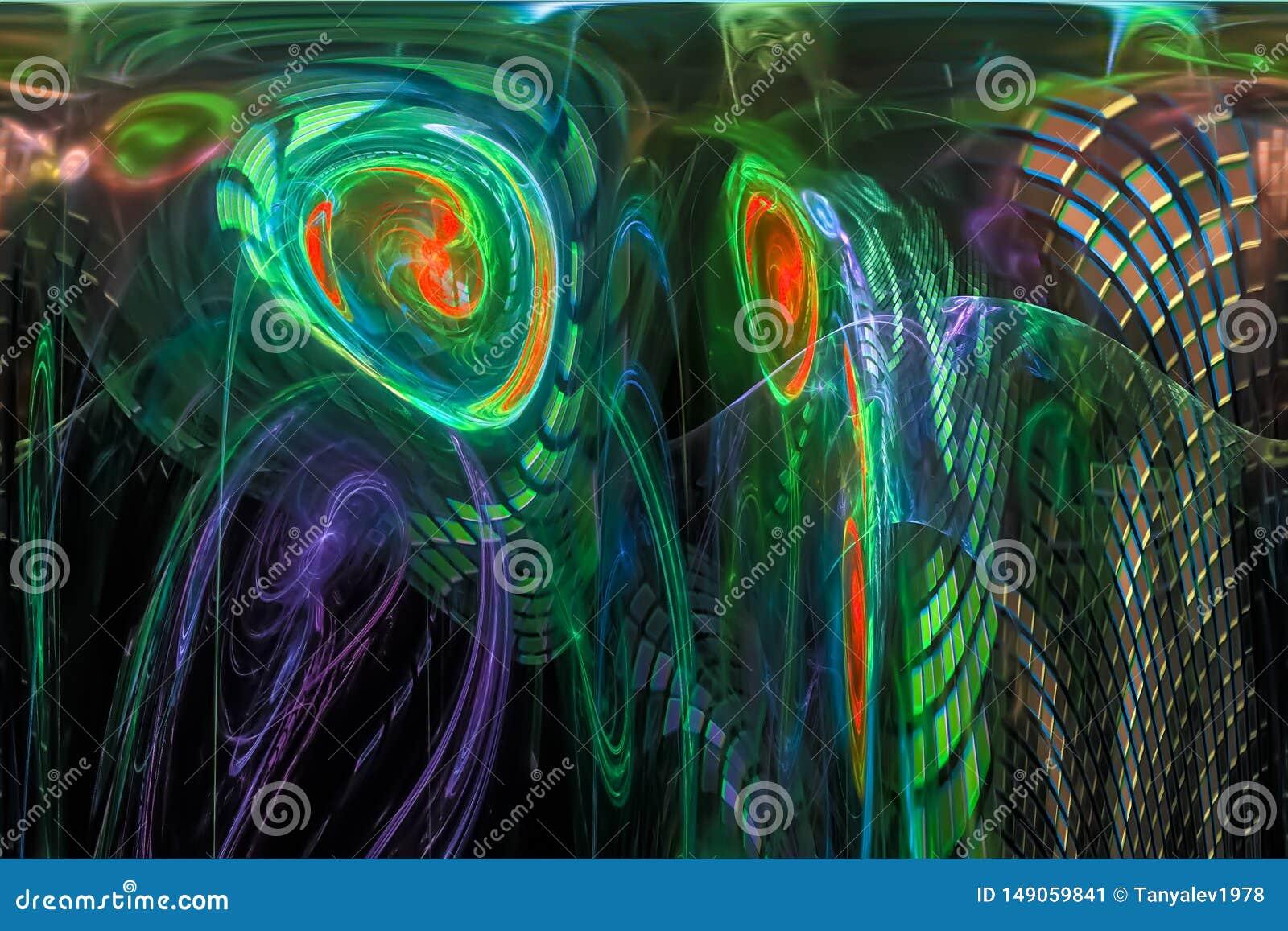 摘要发光的数字分数维未来派元素充满活力的科学意想不到的火焰幻想动态设计样式