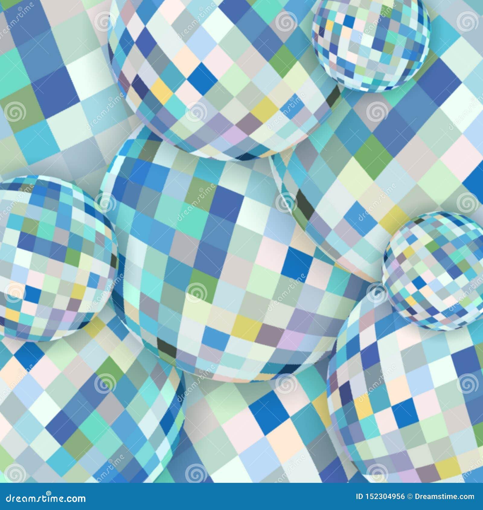 摘要球形玻璃概念性样式 白色蓝色黄色水晶背景