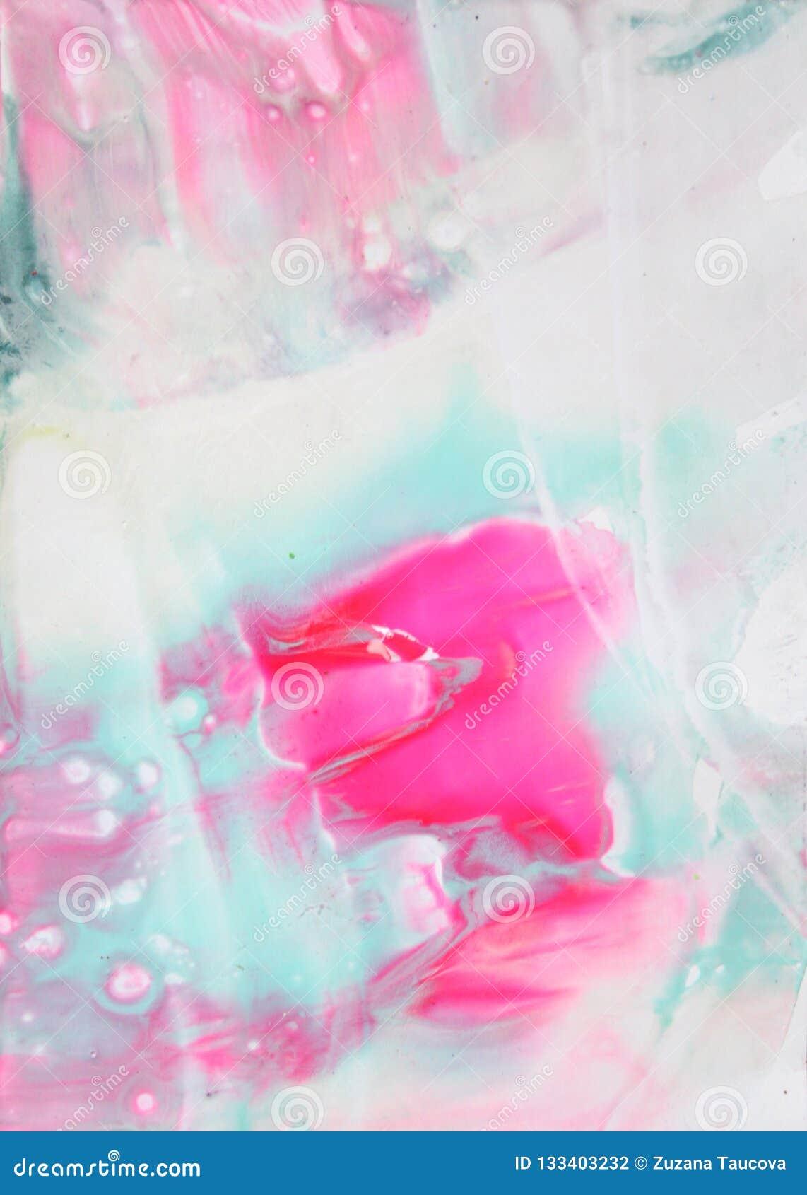摘要被弄脏的桃红色,白色和绿松石口气光给蜡画法背景打蜡