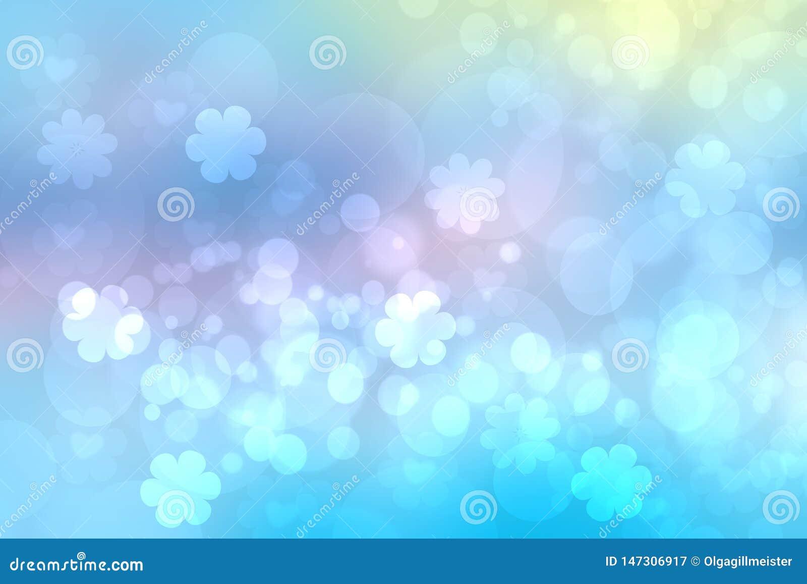 摘要被弄脏的生动的春天夏天轻的精美淡色蓝色桃红色bokeh背景纹理用明亮的软的颜色樱桃