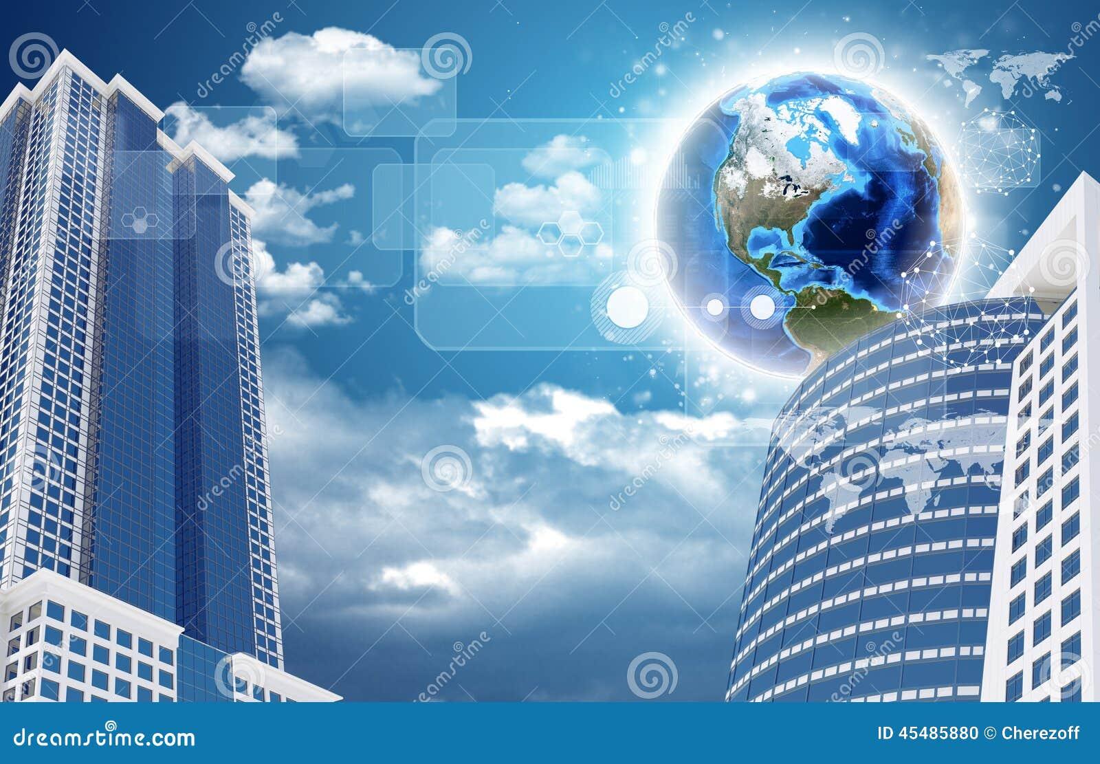 摩天大楼和地球与透明长方形