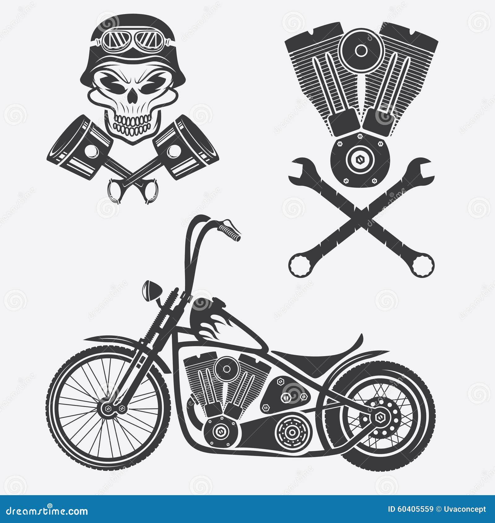 摩托车、头骨、引擎和活塞