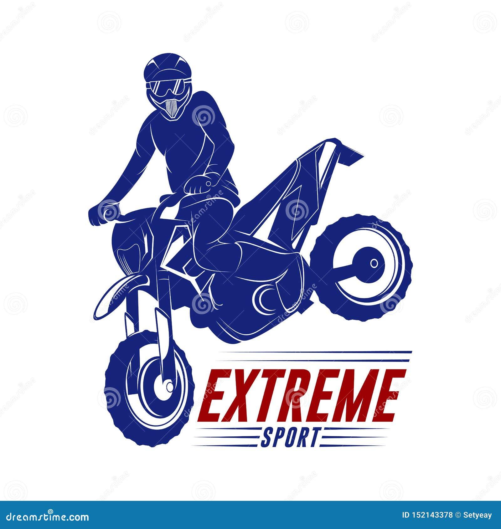 摩托车越野赛跃迁商标传染媒介 摩托车越野赛自由式传染媒介 摩托车越野赛传染媒介例证