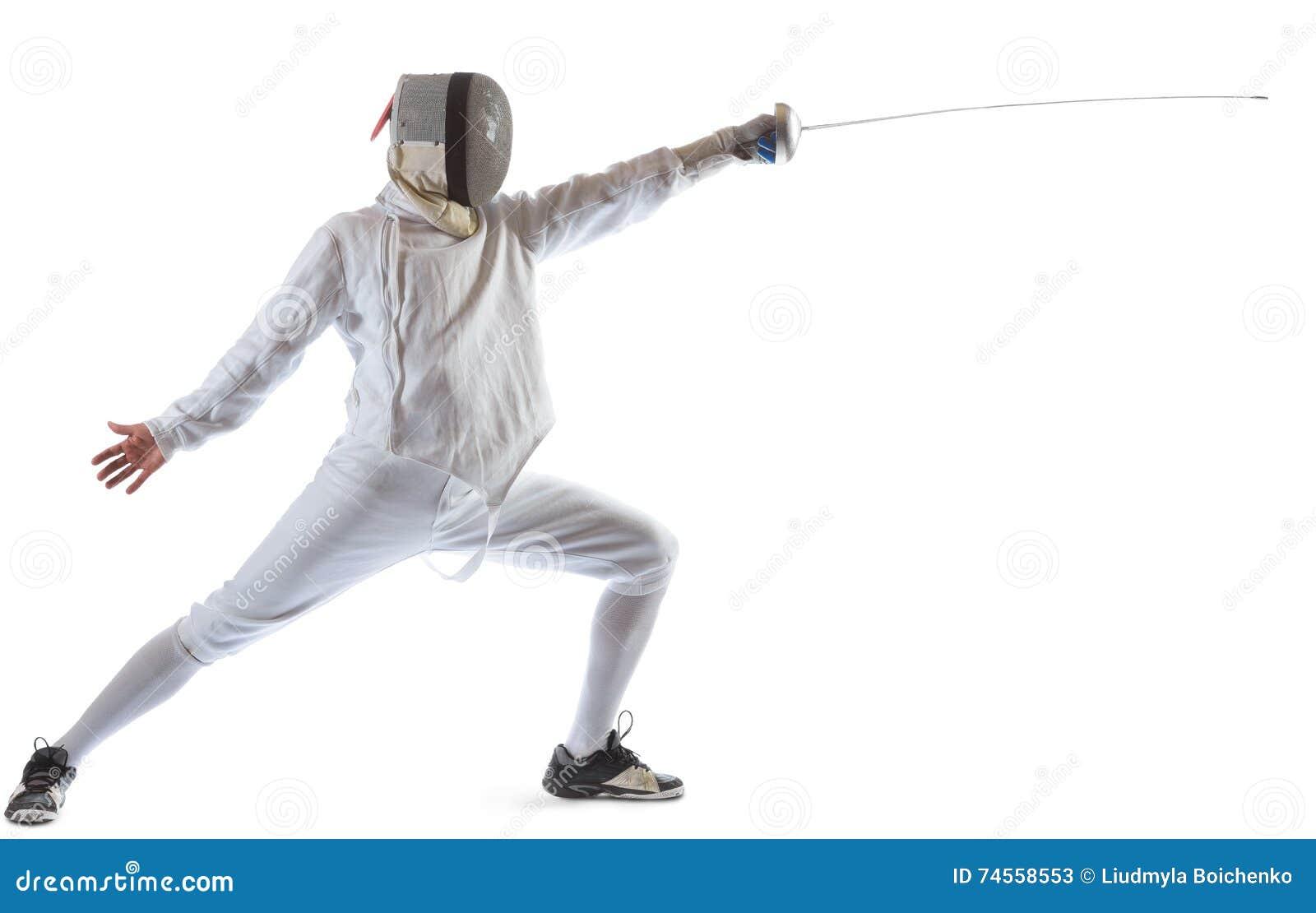 操刀运动员赢取在白色背景中隔绝的竞争