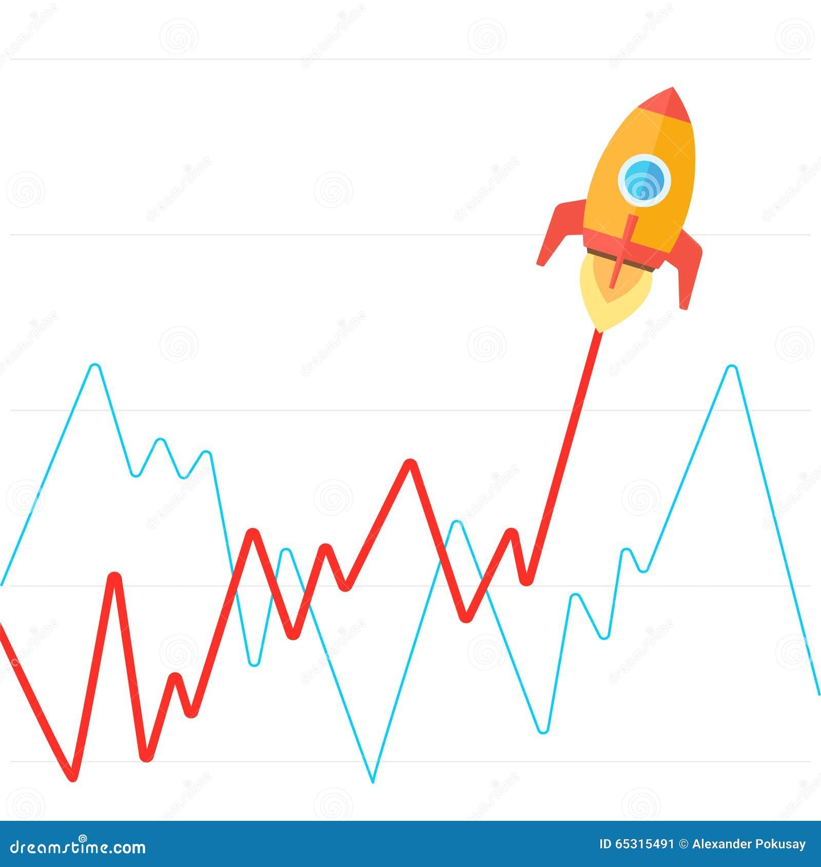 收入图表上升象火箭平的传染媒介
