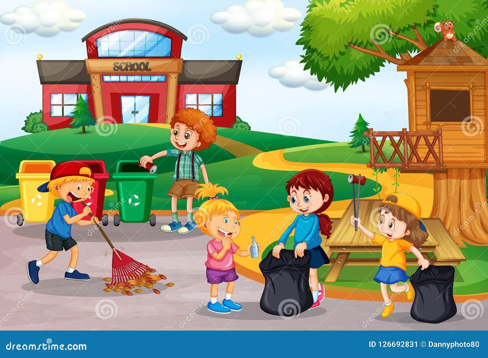 收集垃圾的志愿孩子在学校