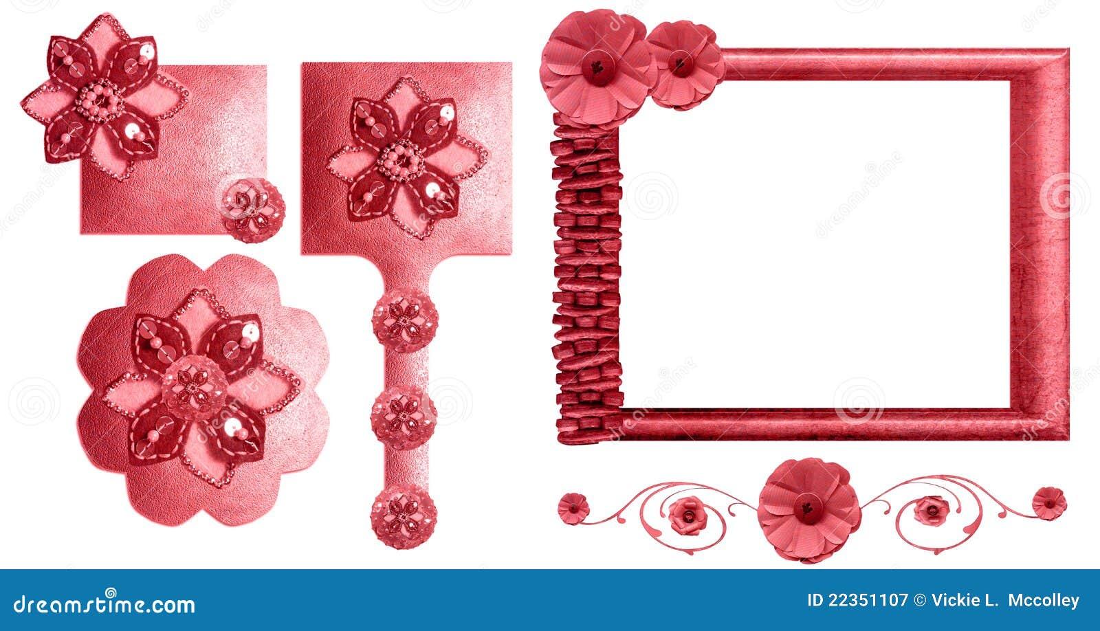 收集花卉框架粉红色