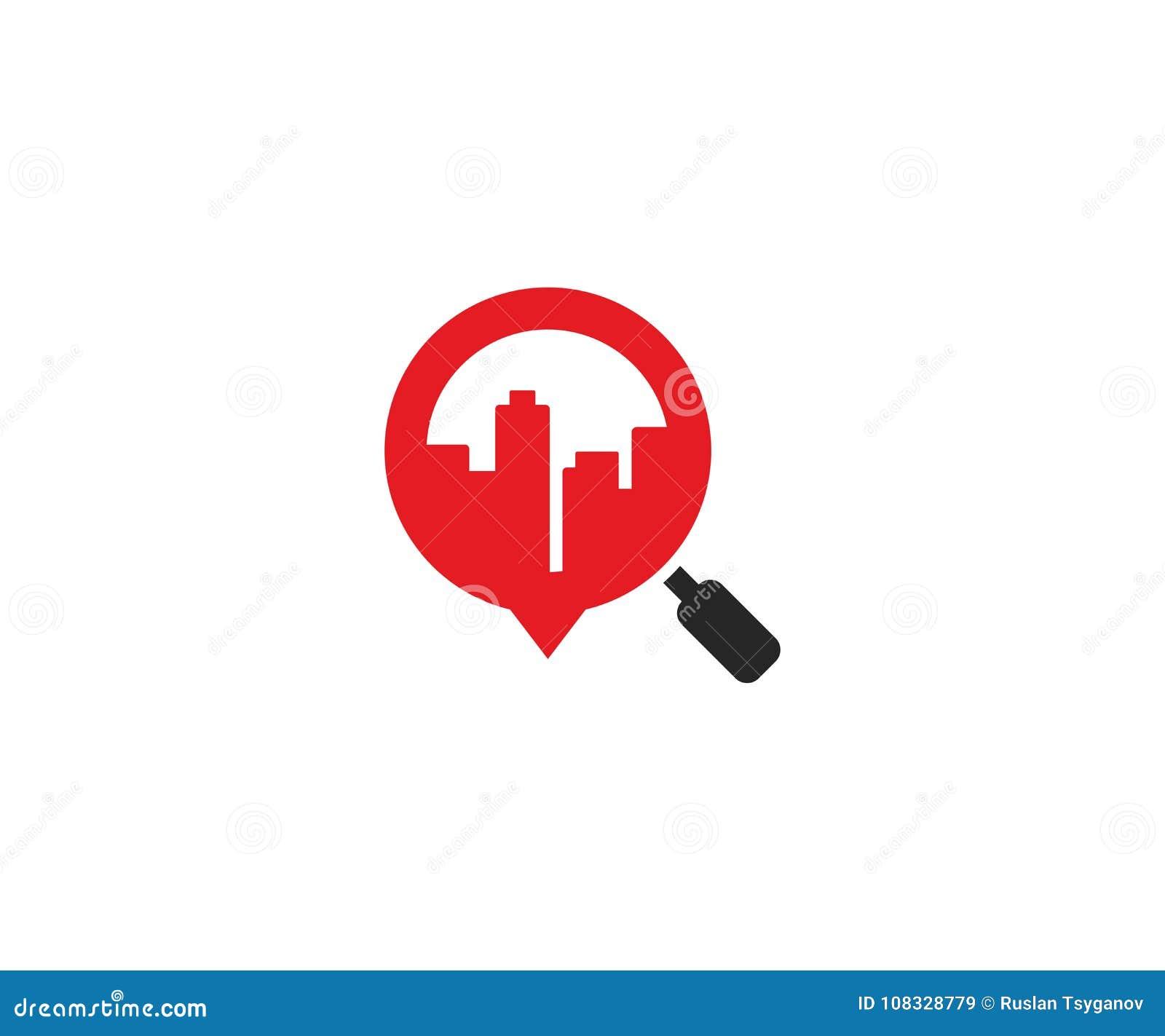 放大镜商标模板的城市 摩天大楼和放大器传染媒介设计