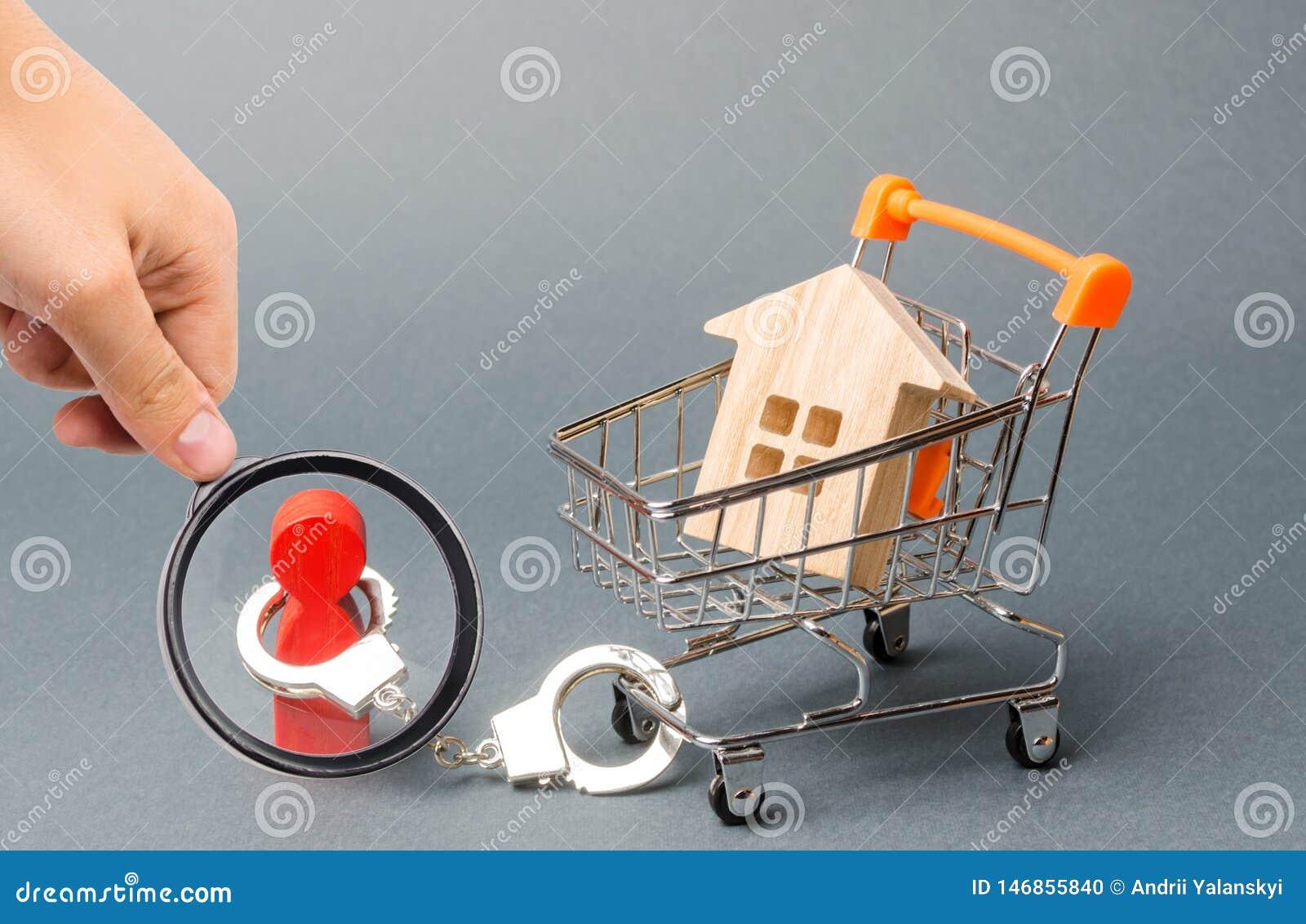 放大镜看一个人扣上手铐到超级市场推车的一个房子 财政依赖性,无法获得的住房