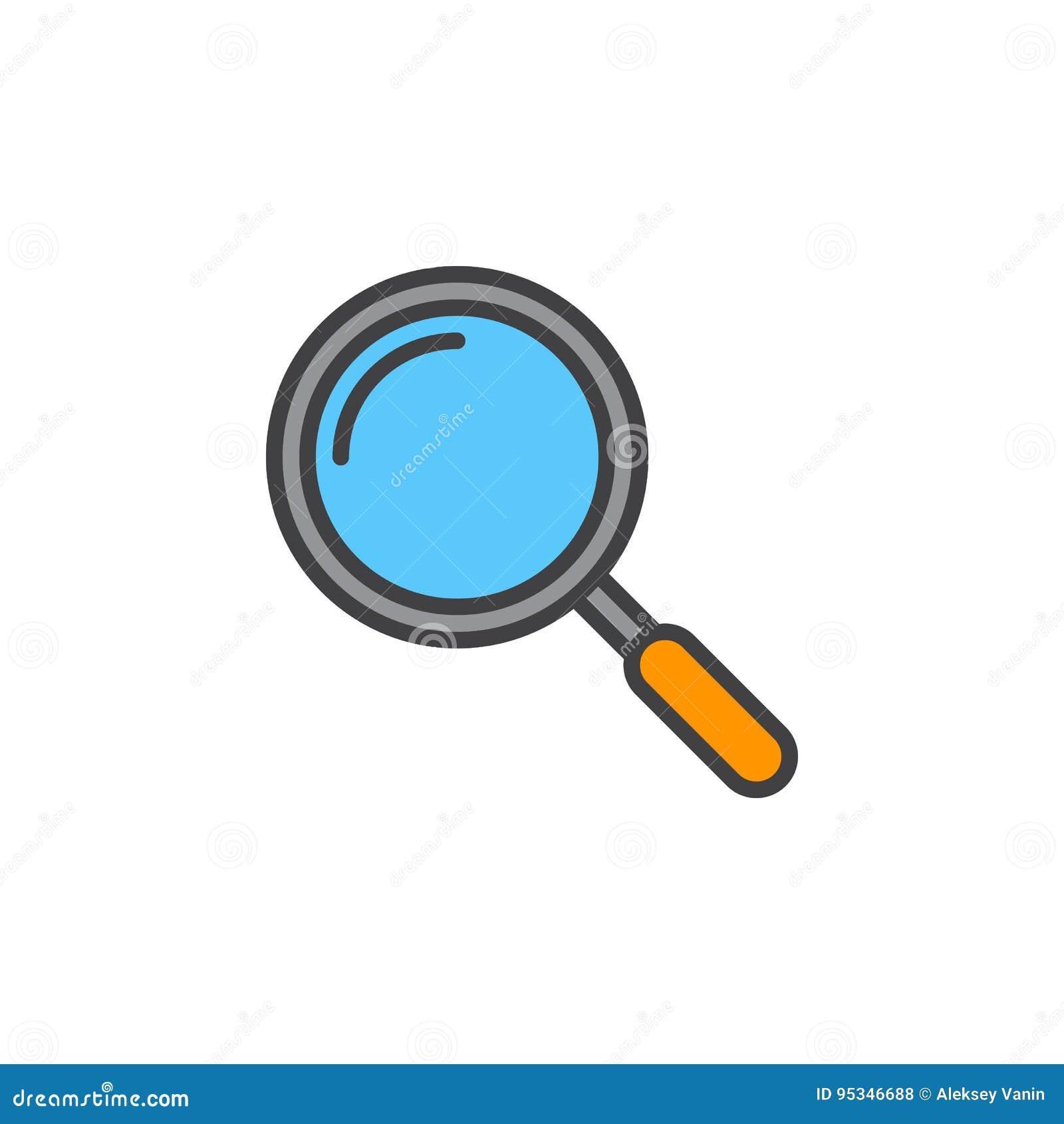 放大镜线象,被填装的概述传染媒介标志,线性c