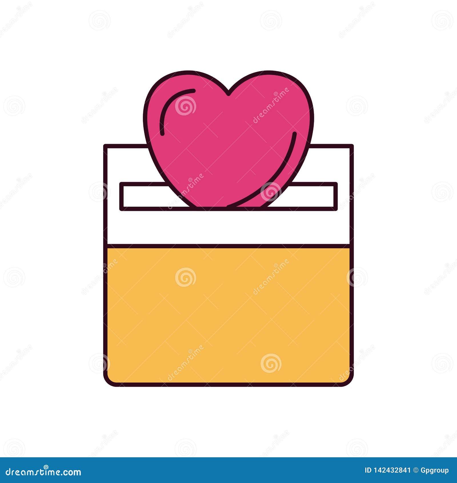 放置在纸盒箱子的剪影颜色部分正面图平的心脏