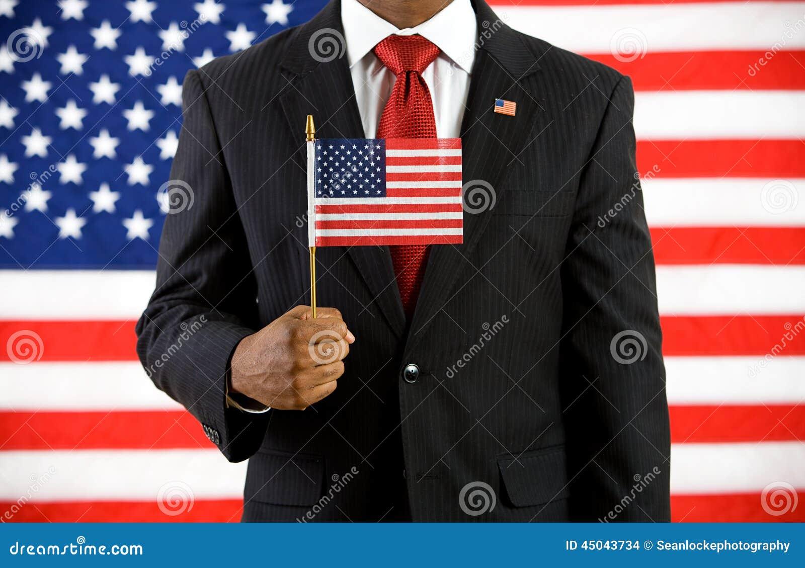 政客:拿着美国旗子