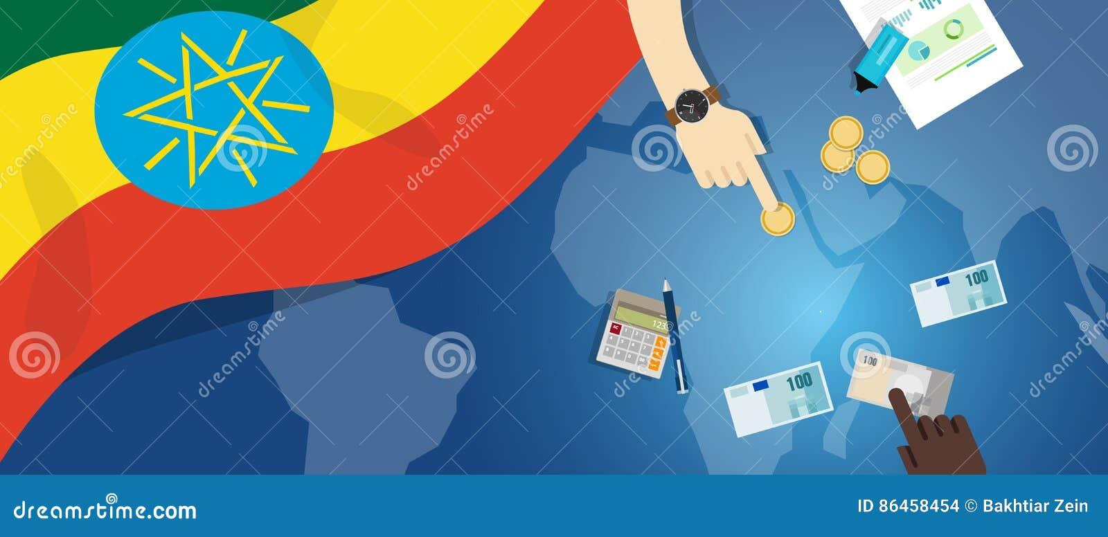 财政银行业务预算的埃塞俄比亚经济财政金钱贸易概念例证与旗子地图和货币的