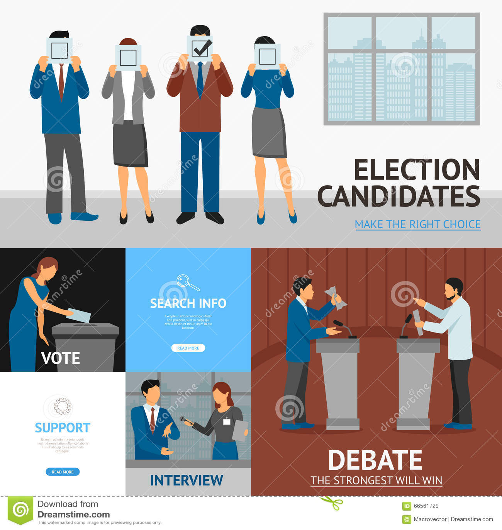 政治竞选平的横幅构成