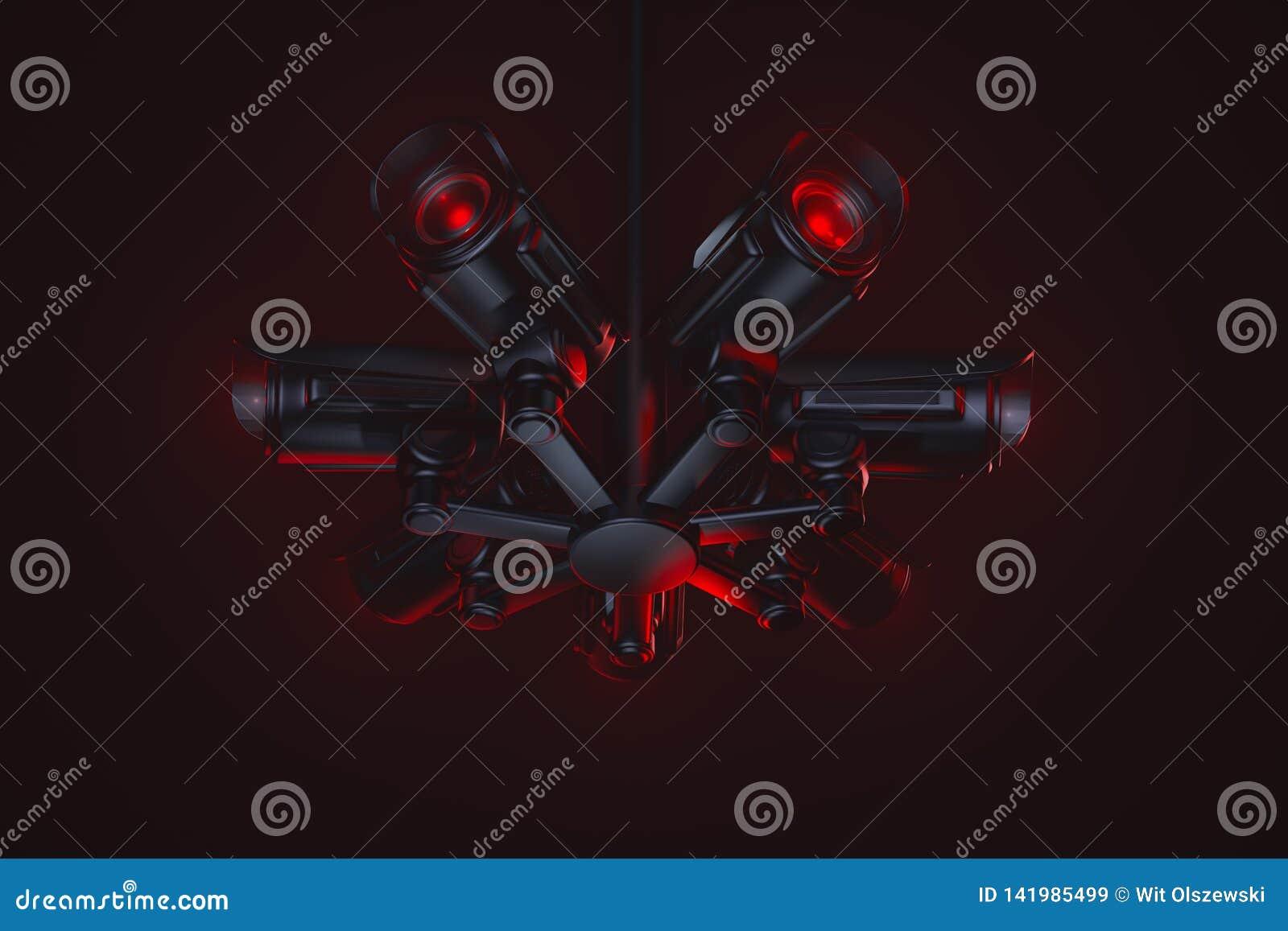 敌对看起来的录音设备插孔  在AI人工智能下控制的社会  服从,缴纳税,再生产或者