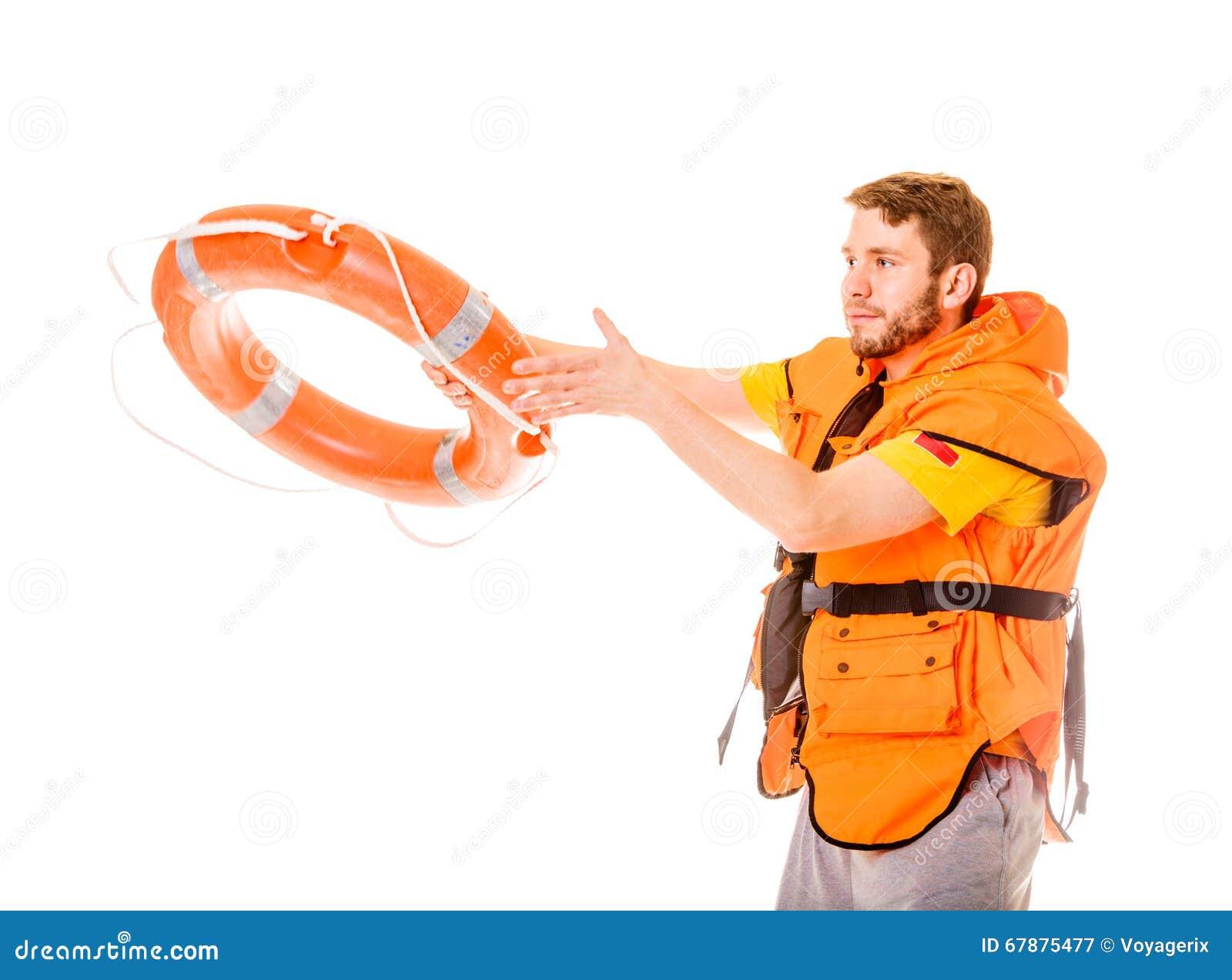 救生背心的救生员与lifebuoy的救生圈