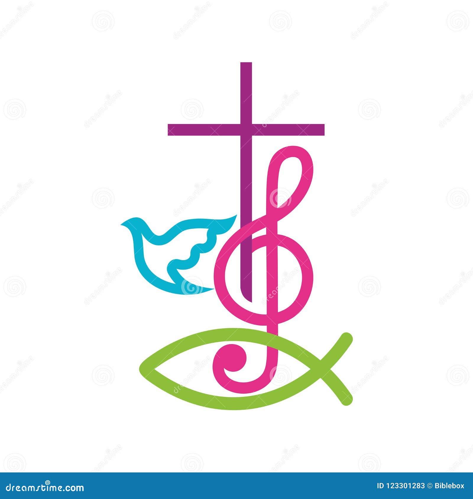 教会商标 基督徒符号 耶稣基督和高音谱号十字架作为称赞和崇拜的标志对上帝