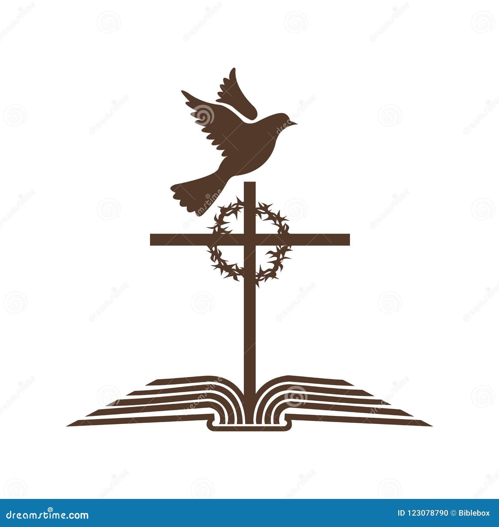 教会商标 开放圣经和耶稣基督,铁海棠十字架和鸠-圣灵