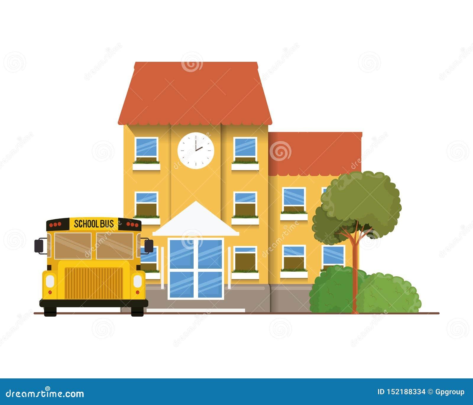 教学楼主要与在风景的公共汽车