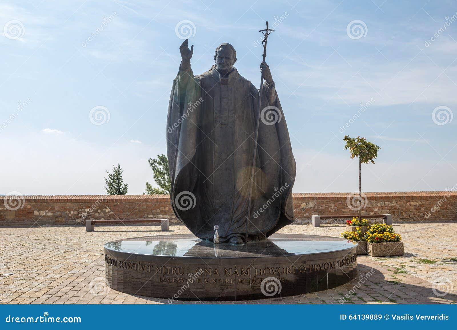 教宗若望保禄二世雕象在Nitra,斯洛伐克共和国,中央E