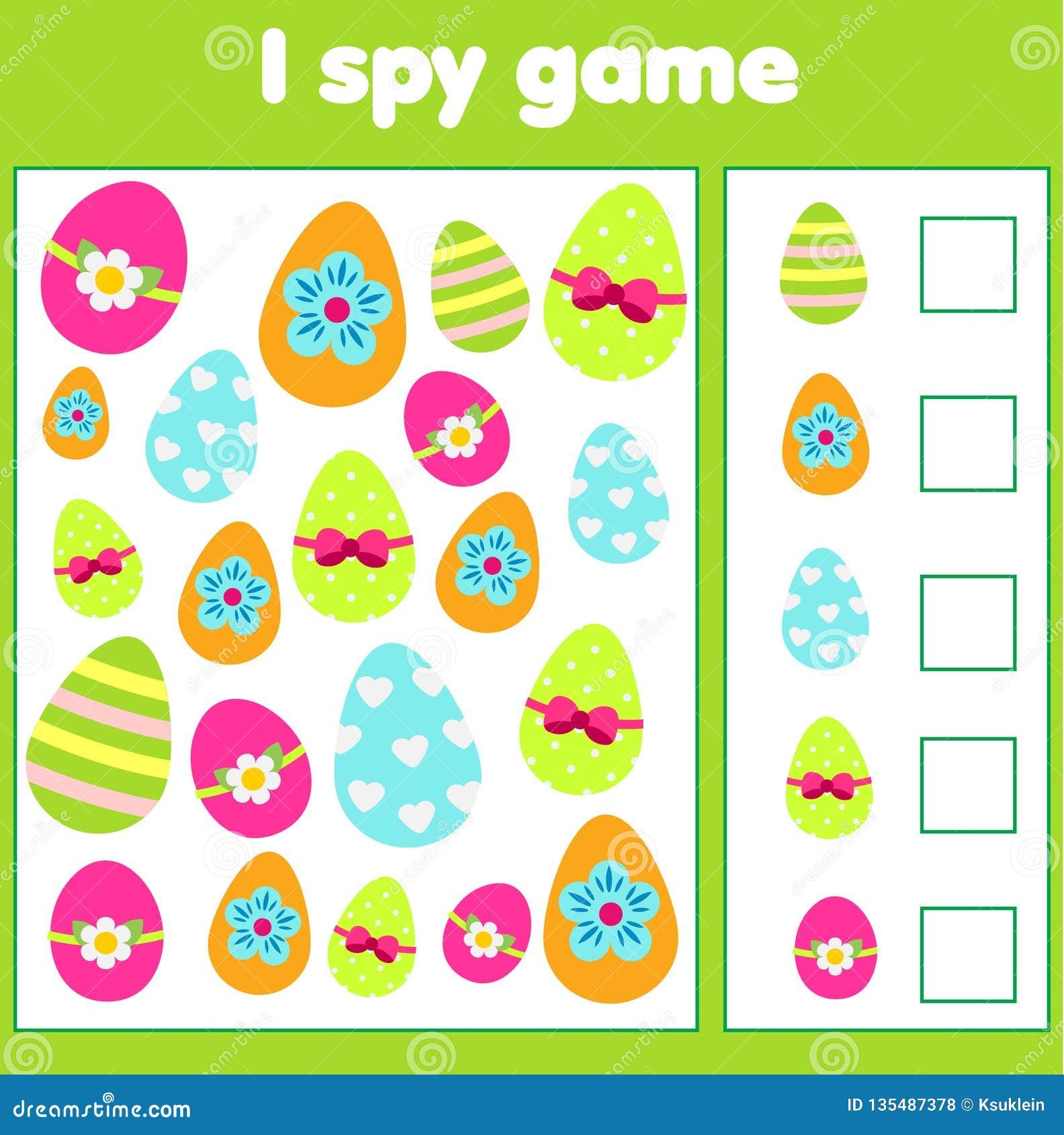 教育儿童比赛 我暗中侦察小孩的板料 发现和计数复活节彩蛋