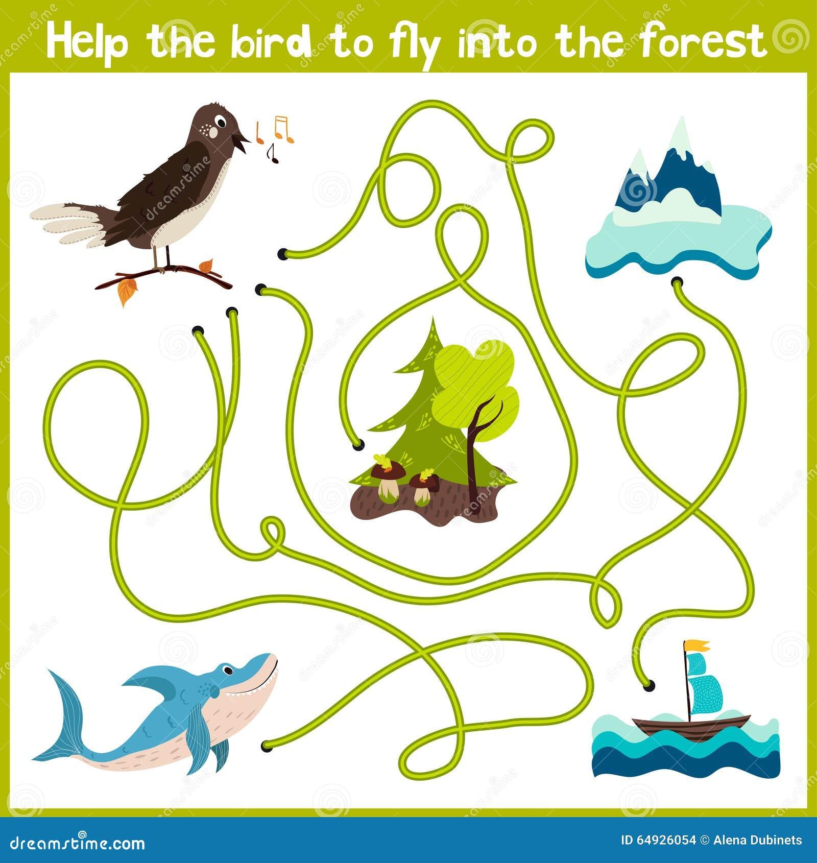 教育动画片将继续五颜六色的动物的逻辑方式家 在野生fo帮助鸟夜莺回到家