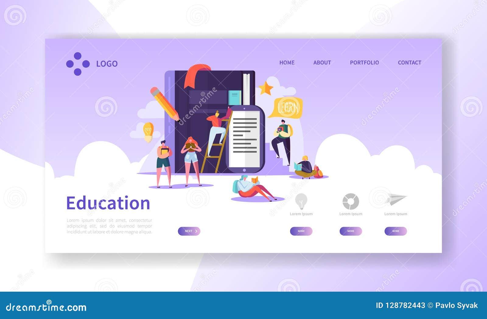教育和科学着陆页 训练,学会与平的人字符网站模板的路线