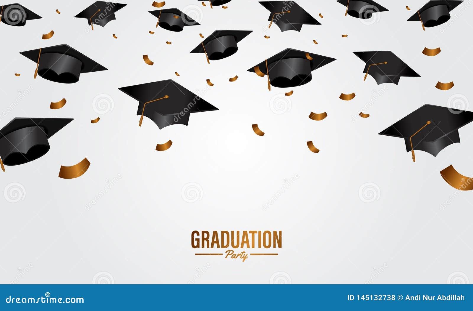 教育概念与盖帽和金黄五彩纸屑落的毕业派对横幅