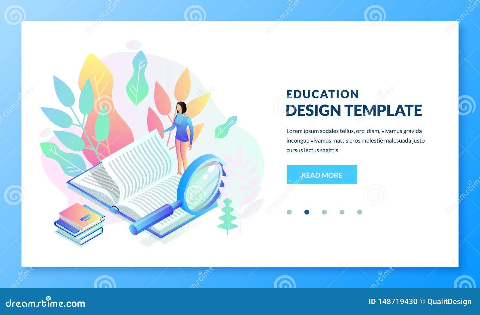 教育,研究着陆页横幅设计 女孩看书 E EBook图书馆概念