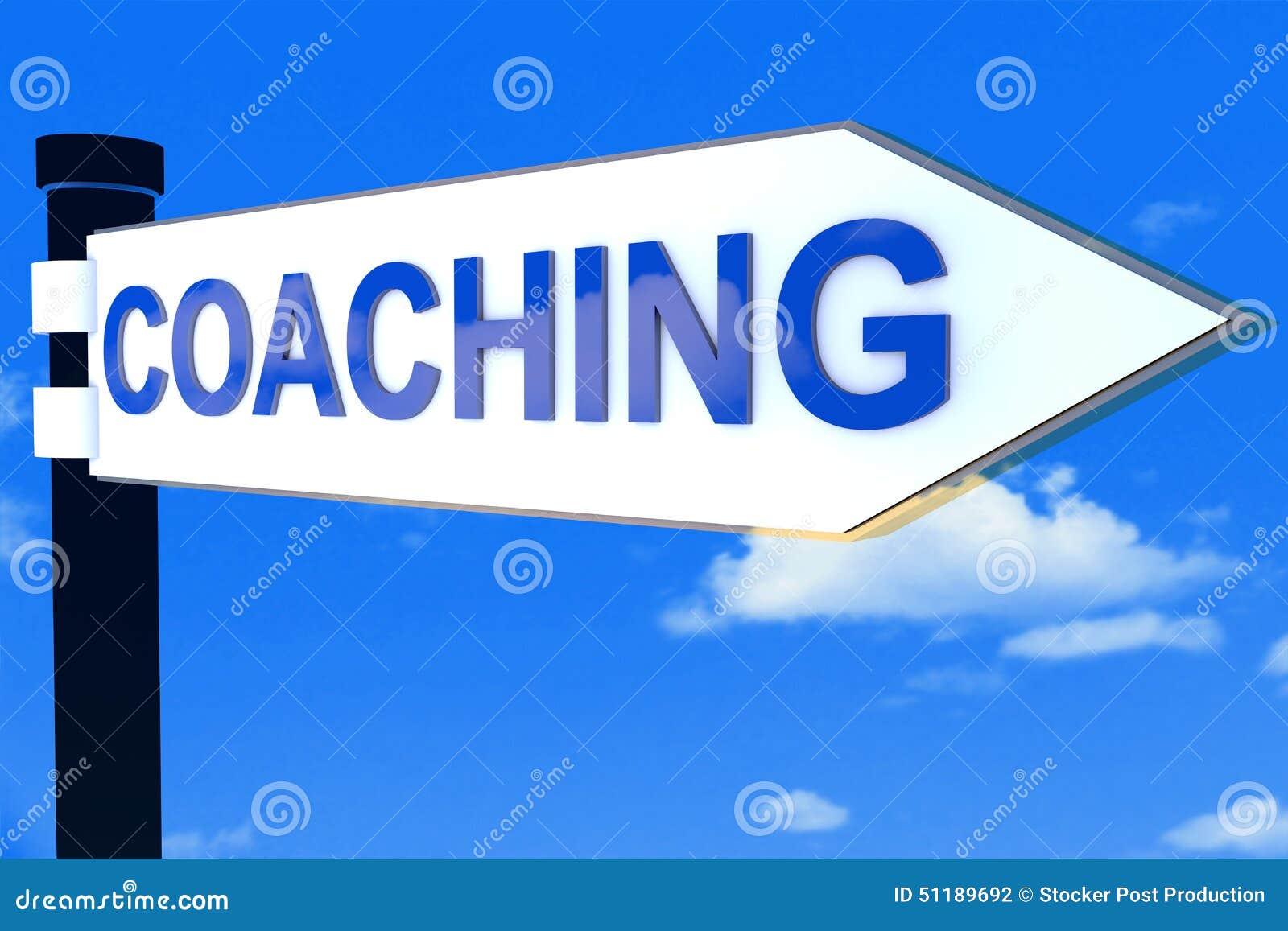 教练路在天空的方向标概念.