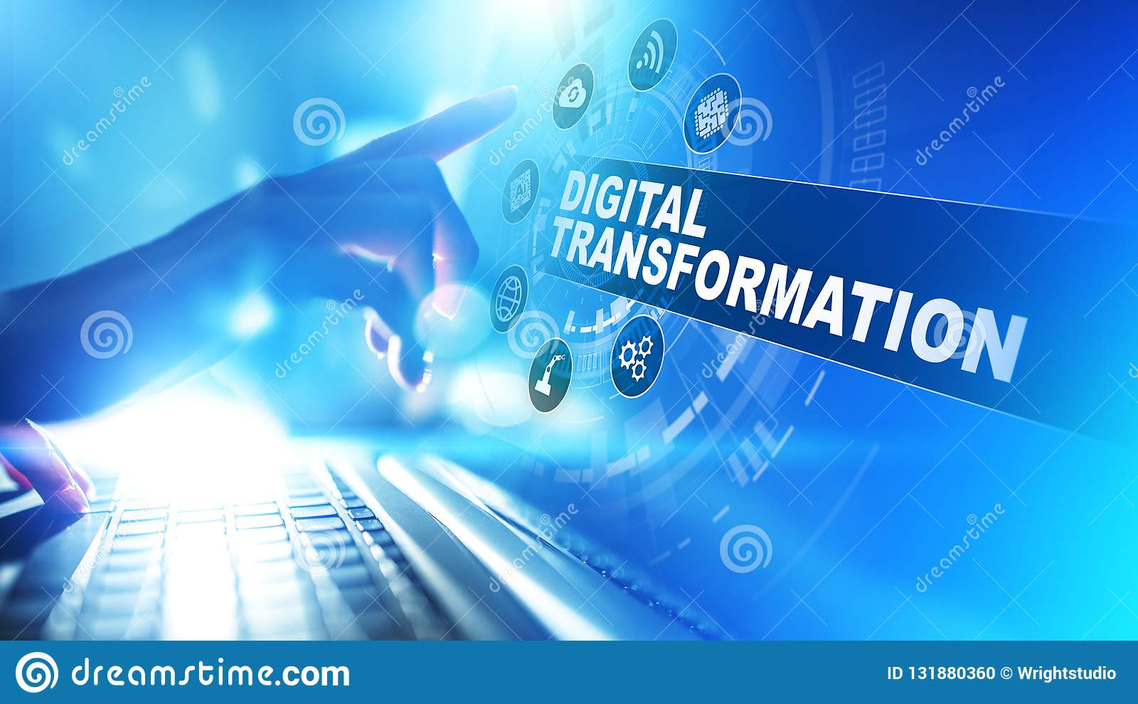 数字变革,中断,创新 事务和现代技术概念