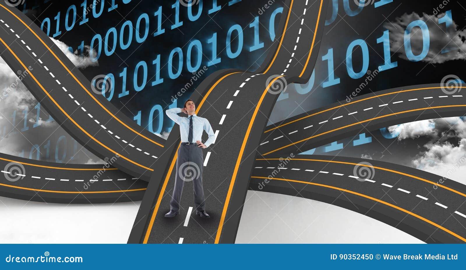 数字式商人的引起的图象在波浪路的反对二进制数