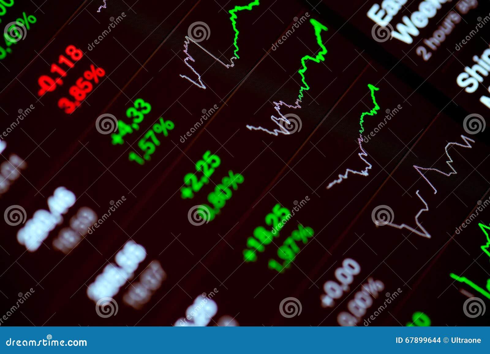 数字式在屏幕上的股市图