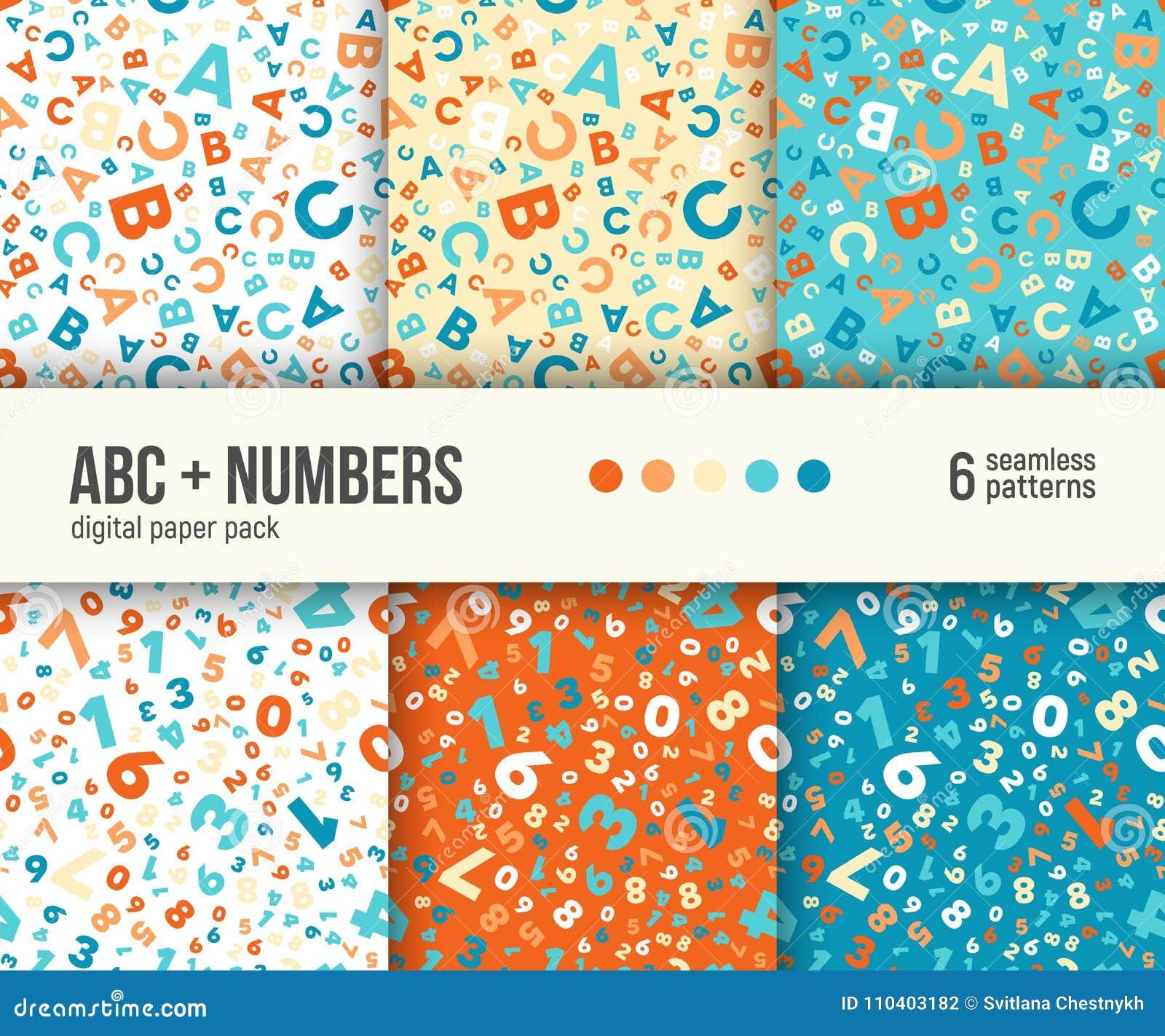 数字式纸组装、6个抽象样式、ABC和算术背景孩子教育的