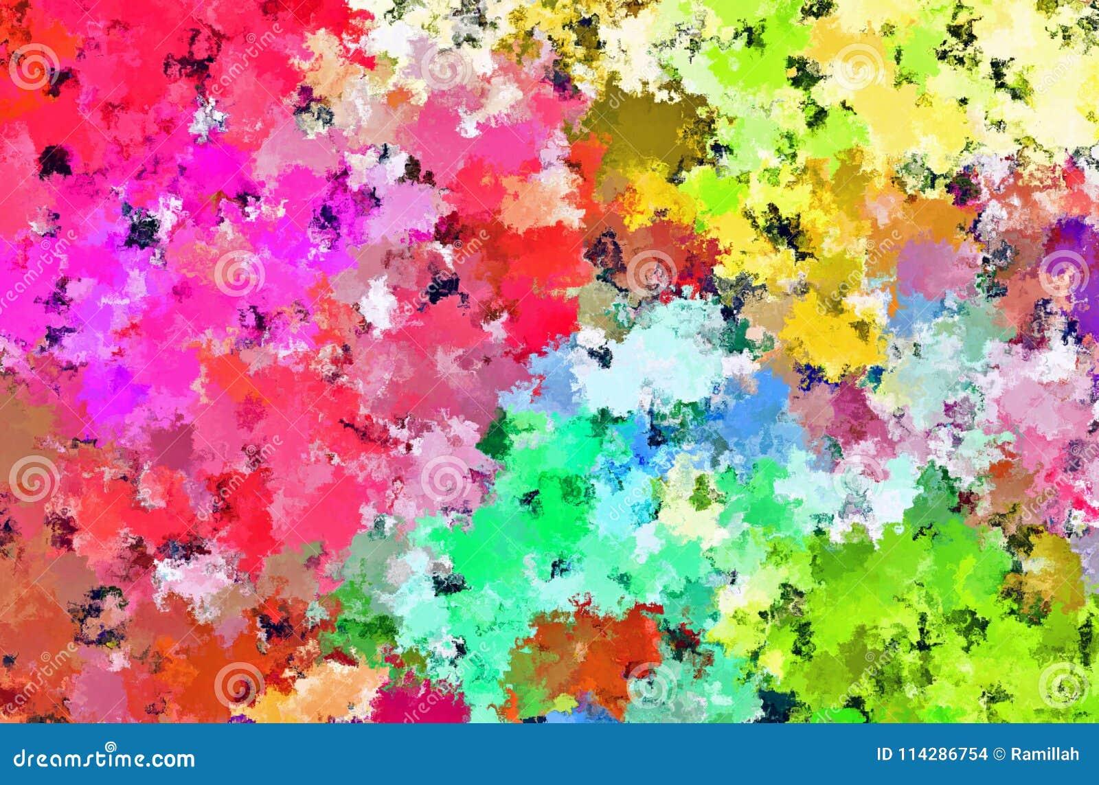 数字式绘画美好的抽象五颜六色的花田背景