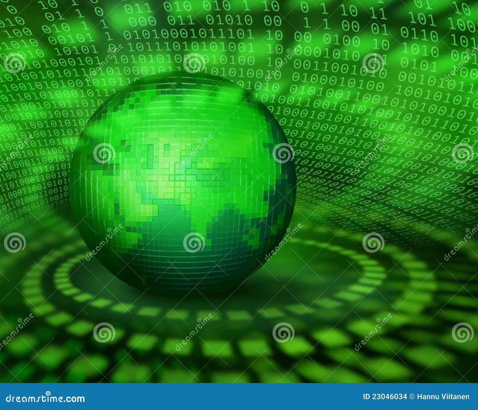 数字式绿色象素行星