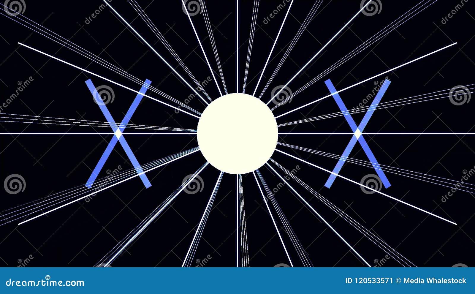 数字式网络城市与线样式的微粒HUD背景与立方体和一刹那光 80s减速火箭的未来主义背景