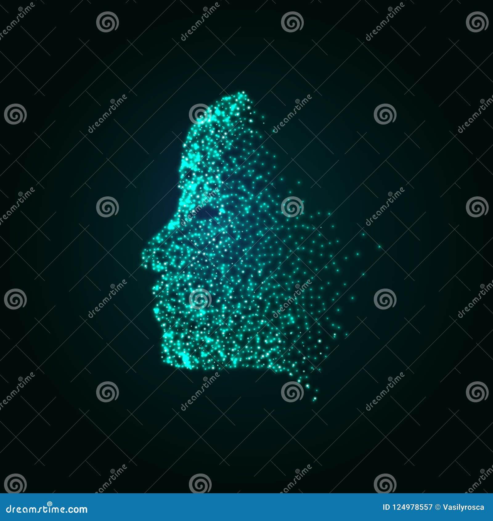 数字式面孔微粒技术概念背景 lerning人工智能的机器 面孔真正人