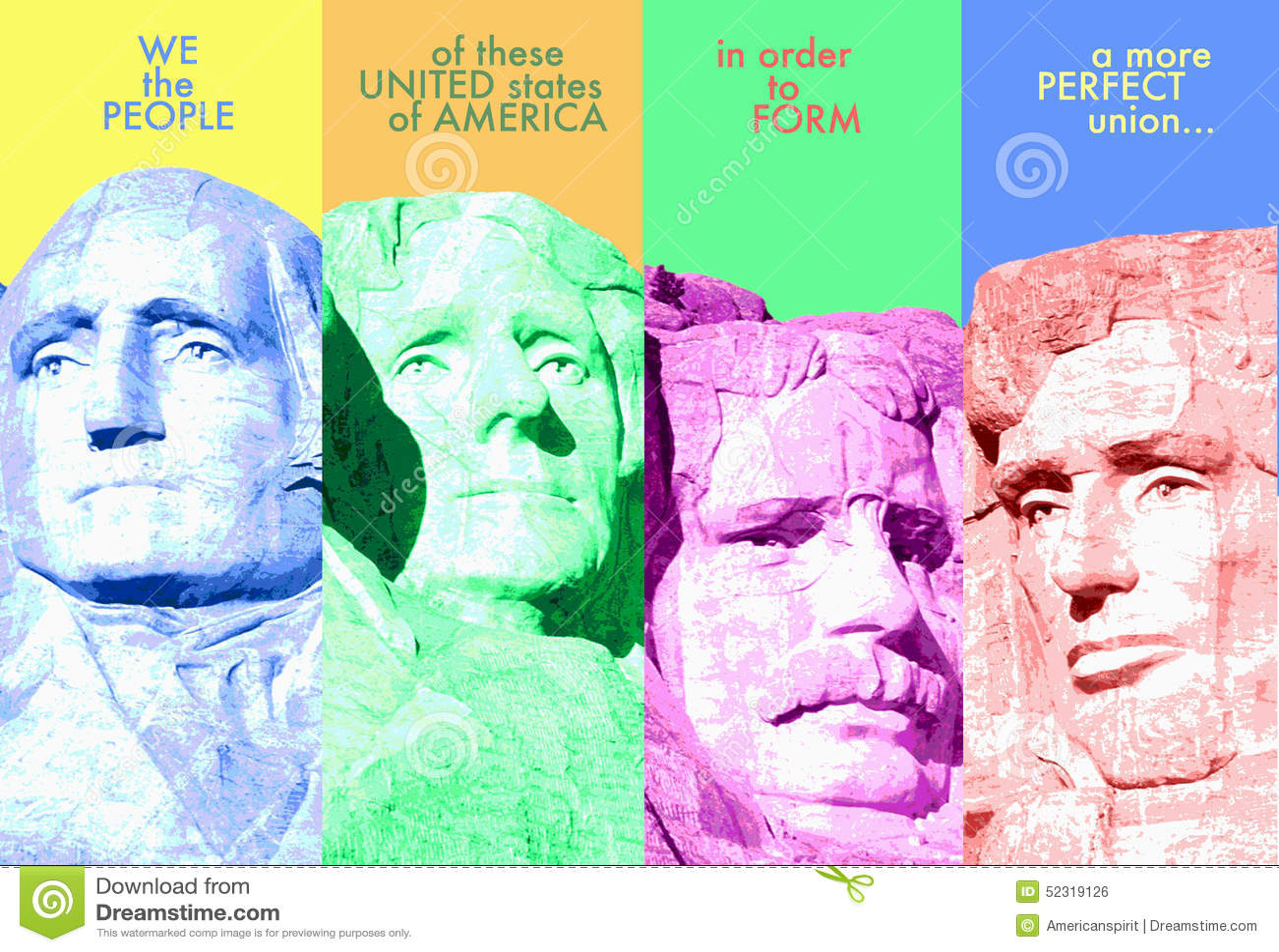 数字式综合:拉什莫尔山和序文对U S 宪法