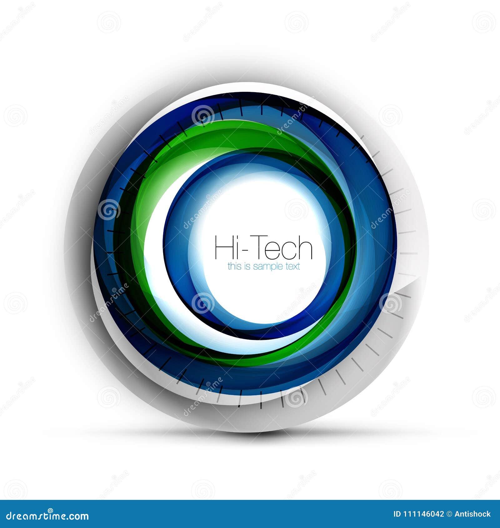 数字式techno球形网横幅、按钮或者象与文本 光滑的漩涡颜色摘要圈子设计,高科技