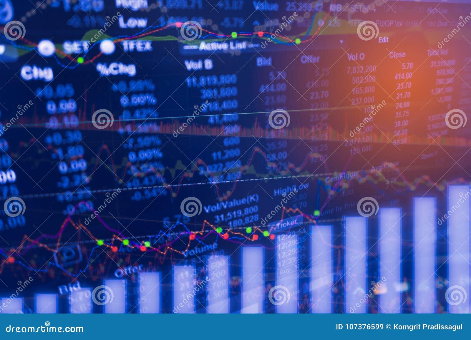 数字资料在金融市场贸易图的显示分析在LED 概念储蓄数据贸易