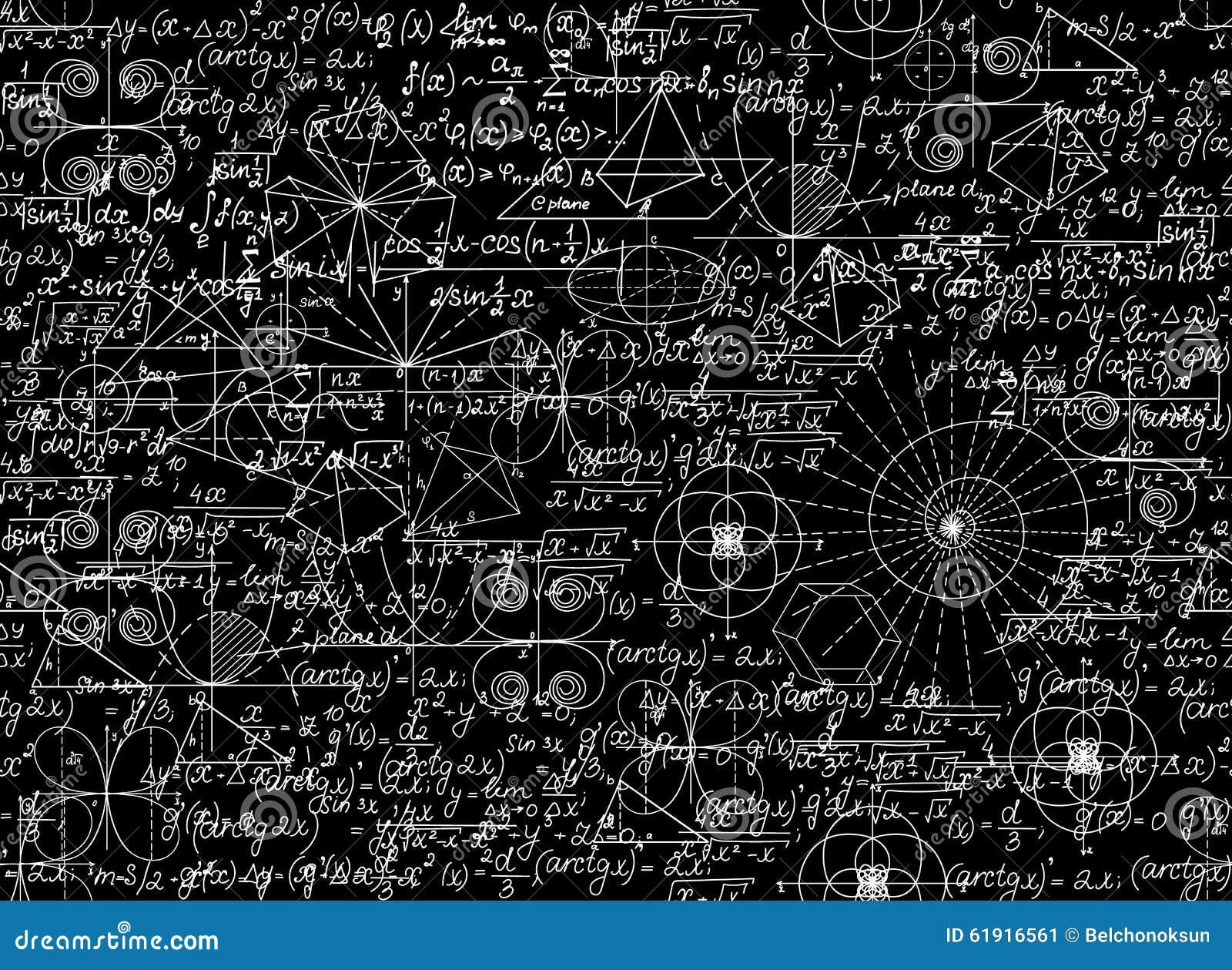 数学与数学图和等式的传染媒介无缝的样式