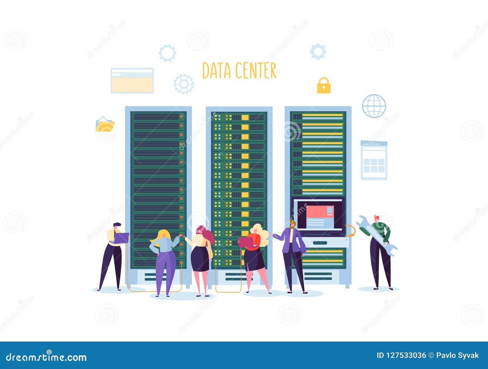 数据中心技术概念 工作在网络服务系统室的平的人字符工程师 网络主持