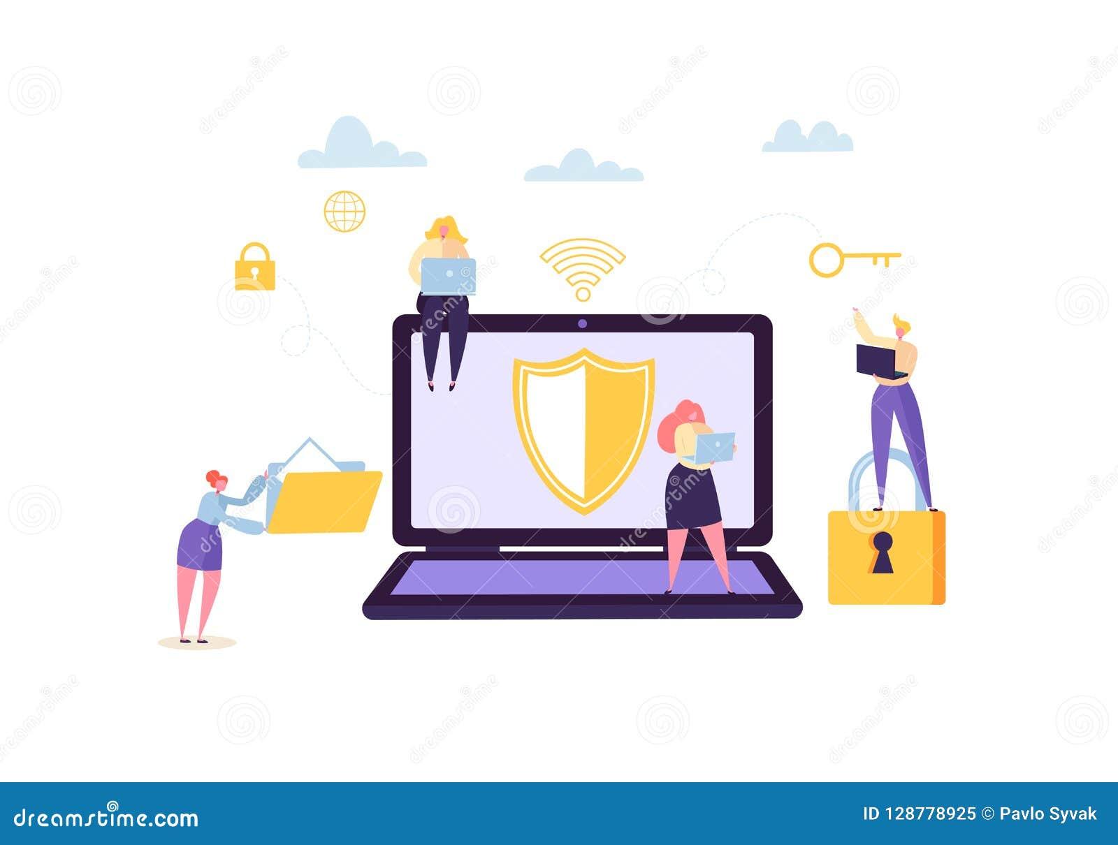 数据保护保密性概念 与字符的机要和安全互联网技术使用计算机和小配件