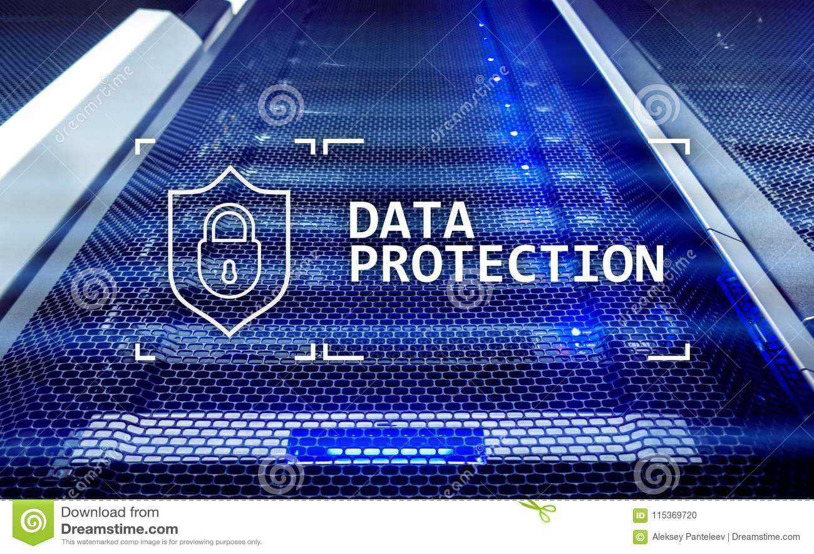 数据保护,网络安全,信息保密性 互联网和技术概念 服务器室背景