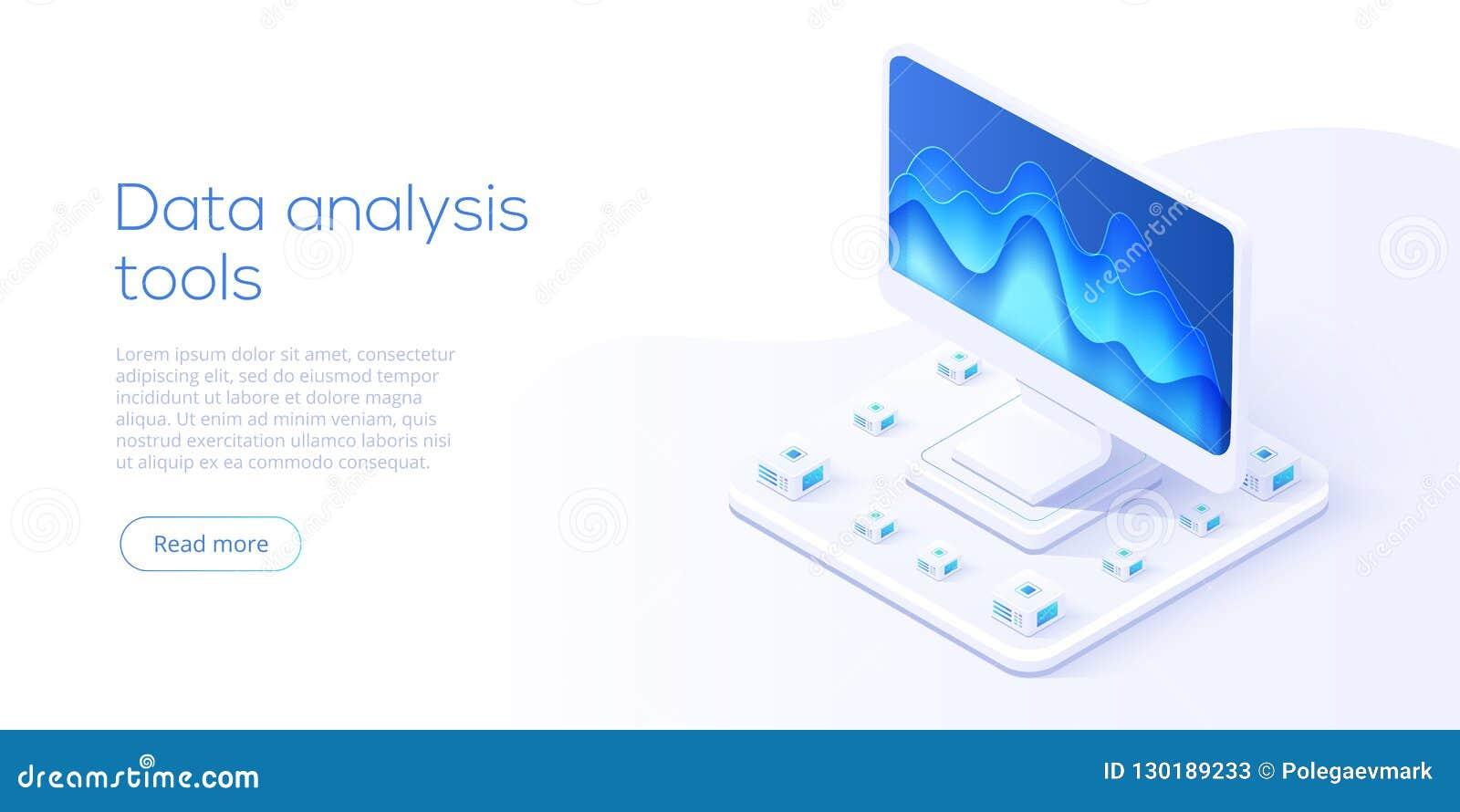 数据分析服务器等量传染媒介例证 3d摘要