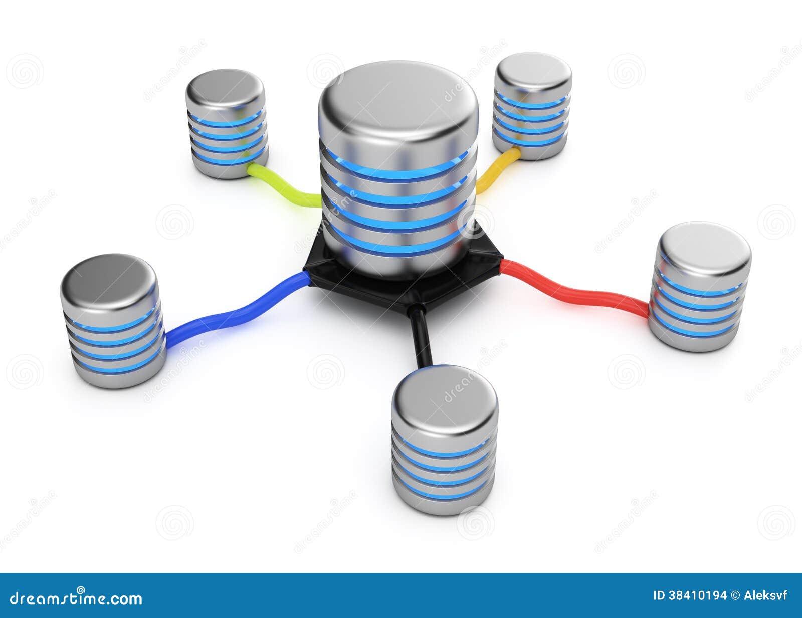 在白色背景的数据库服务器连接.3d回报.图片