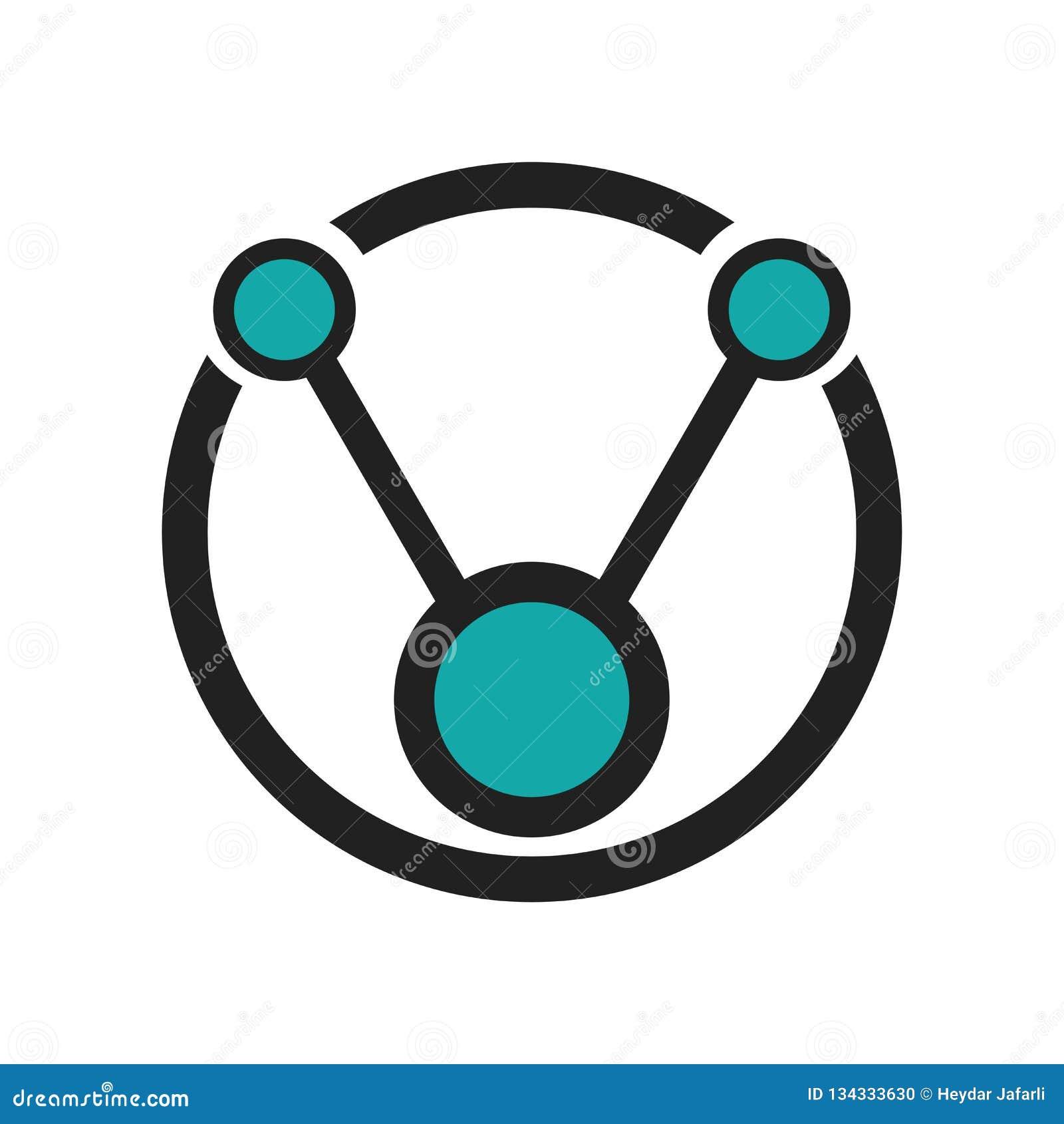 数据连接了圆图形接口标志象在白色背景隔绝的传染媒介标志和标志,数据被连接的通报