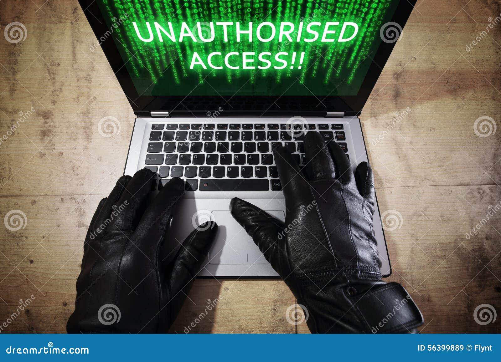 数据黑客膝上型计算机窃取